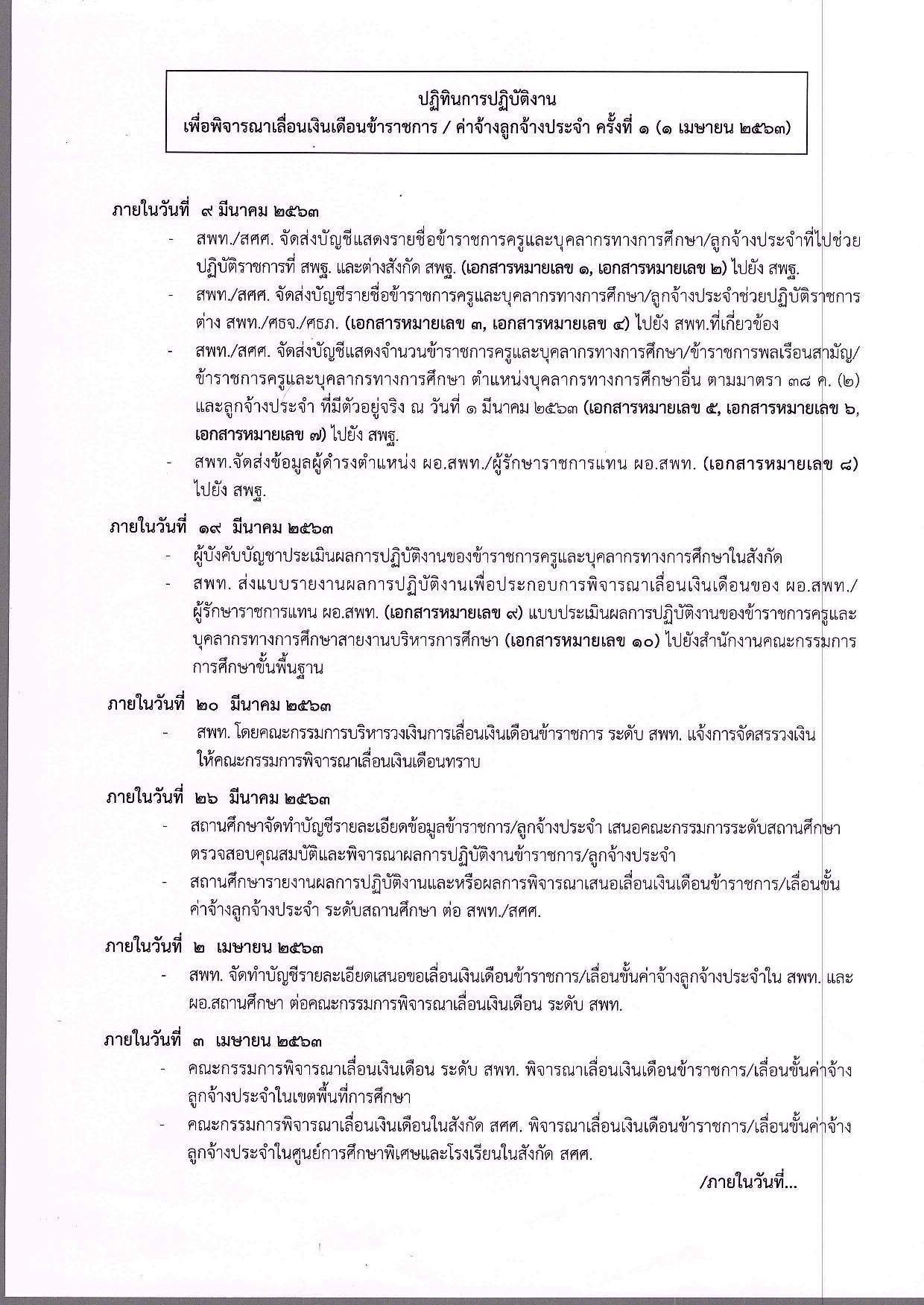 ปฏิทินการเลื่อนเงินเดือน ของข้าราชการครู ค่าจ้างของลูกจ้างประจํา ครั้งที่ 1 ปี 2562 (1 เมษายน 2562) สังกัด สพฐ.