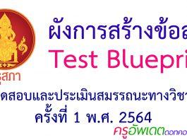 ผังการสร้างข้อสอบ Test Blueprint การทดสอบและประเมินสมรรถนะทางวิชาชีพครู ครั้งที่ 1 ปี 2564